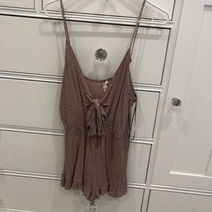 Mauve Romper with Silver Pinstripes